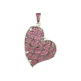 Серебряный подвес с розовыми фианитами Сердце звучит