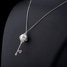 Колье из серебра Ключ к нежности с фианитами и жемчугом
