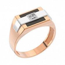 Золотой перстень-печатка Корнелиус с цирконием и черной эмалью