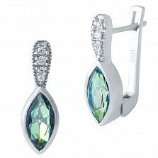 Серебряные серьги Диона с мистик топазом и фианитами