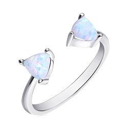 Серебряное разомкнутое кольцо с опалами 000139589