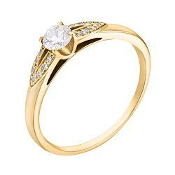 Помолвочное кольцо в желтом золоте с бриллиантами, 0,36ct 000070640