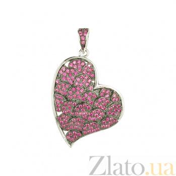 Серебряный подвес с розовыми фианитами Сердце звучит 3П543-0113