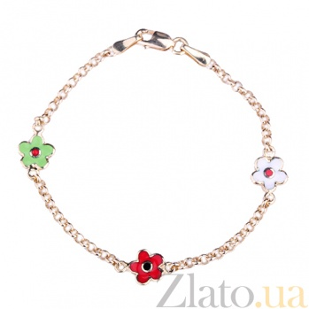 Детский золотой браслет с эмалью Три цветка ONX--б01445