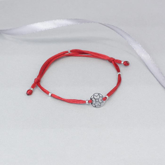 Шелковый браслет Новогодняя снежинка со вставками из белого золота, ø10мм 000095572
