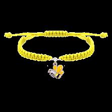 Детский плетеный браслет Пчелка с эмалью и фианитом, 10-20см