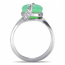 Серебряное кольцо Хетевей с узорным кастом и хризолитом