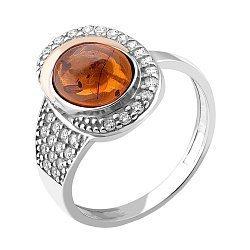Серебряное кольцо с золотой накладкой, янтарем, фианитами и родированием 000066685