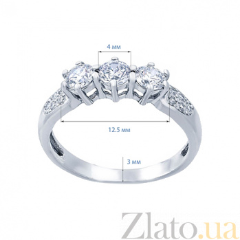 Серебряное кольцо с кубическим цирконием Левадия AQA-71711б