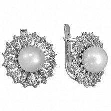 Серебряные серьги с фианитами и жемчугом Дарлайн