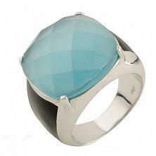 Серебряное кольцо Бенедикта с голубым кошачьим глазом и черным ониксом