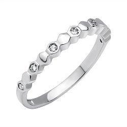 Серебряное кольцо Соты с фианитами