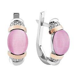 Серебряные серьги с розовыми улекситами, фианитами и золотыми накладками 000121635