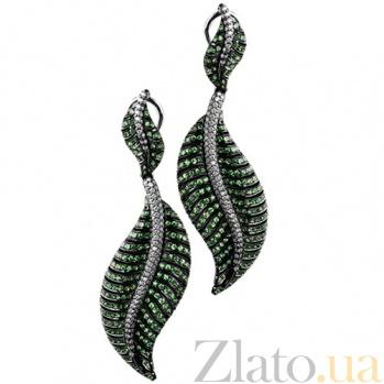 Золотые серьги с цаворитами и бриллиантами Царевна KBL--С2387/бел/цав