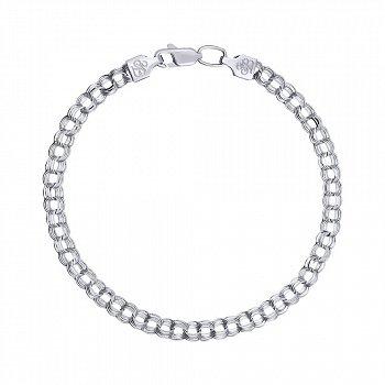Срібний браслет в плетінні бісмарк 4 мм 000140057