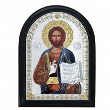 Икона на деревянной основе Спаситель с цветной эмалью и позолотой, 21х17
