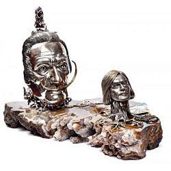 Серебряная композиция Дали и Сафронов с бриллиантами, сапфирами, аметистом и позолотой 000004379