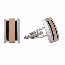 Серебряные запонки Виконт с золотом и ониксом BGS--67 в интернет магазине Злато