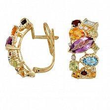 Золотые серьги с аметистом, гранатом, перидотом, топазом, цитрином и бриллиантами Катарина