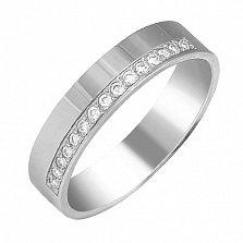 Обручальное кольцо Совместный путь  в белом золоте с бриллиантами