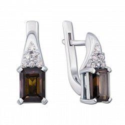 Серебряные серьги с дымчатым кварцем и фианитами 000141315