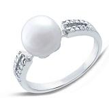 Серебряное кольцо с белой жемчужиной и цирконием Бристоль