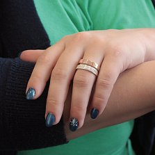 Серебряное кольцо Дора с двойной шинкой, золотой накладкой и фианитами