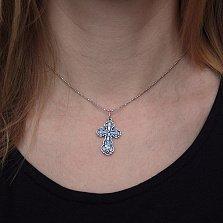 Серебряный двусторонний крест Царь Иудейский с чернением