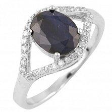 Серебряное кольцо Олимпия с сапфиром и фианитами