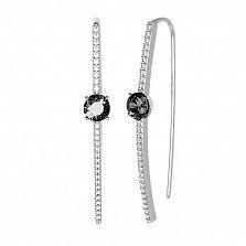 Серебряные серьги-протяжки Акцент с черными и белыми фианитами