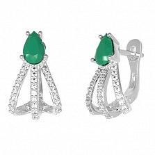 Серебряные серьги Белла с зеленым агатом и фианитами