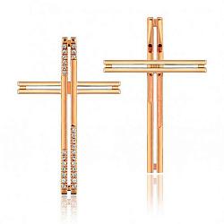 Декоративный крестик с фианитами 000001161