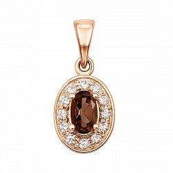 Кулон из красного золота с раухтопазом и фианитами 000131121