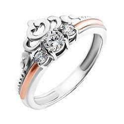 Серебряное кольцо-корона с золотой накладкой, фианитами и родированием 000067102
