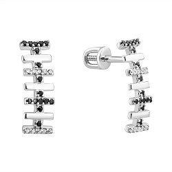 Серебряные серьги с белыми фианитами и черной шпинелью 000102343