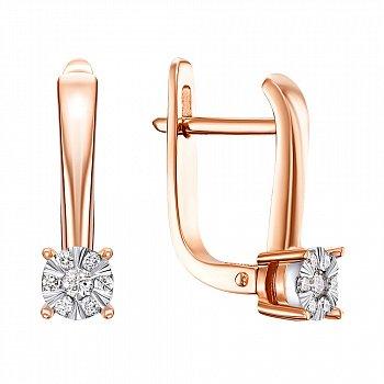 Золоті сережки у комбінованому кольорі з діамантами 000117307