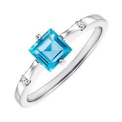 Серебряное кольцо с топазом и цирконием 000144913
