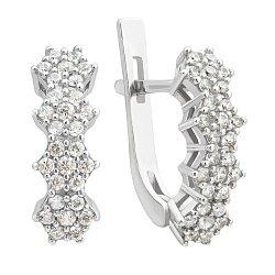 Серебряные серьги Тиамо с цветочками и белым цирконием