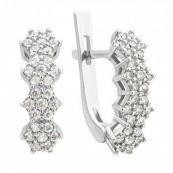 Серебряные серьги с цветочками и белым цирконием  000096354
