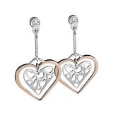 Серебряные серьги с золотой вставкой и цирконием Любовь