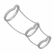 Кольца на три фаланги из белого золота с бриллиантами Эмилайн