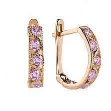 Золотые серьги Вальс с розовыми фианитами