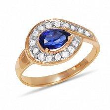 Золотое кольцо Сандра с синтезированным сапфиром и фианитами
