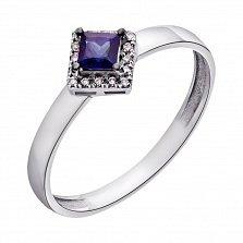 Золотое кольцо Зимняя принцесса с сапфиром и бриллиантами