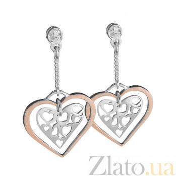 Серебряные серьги с золотой вставкой и цирконием Любовь Любовь  с