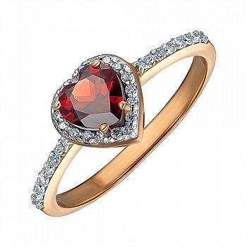 Золоті каблучка Ідеальне серце в червоному кольорі з гранатом і фіанітами 000126061