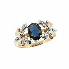 Золотое кольцо с бриллиантами и сапфиром Фрау
