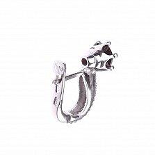 Серебряные серьги Тиана с гранатом и фианитами