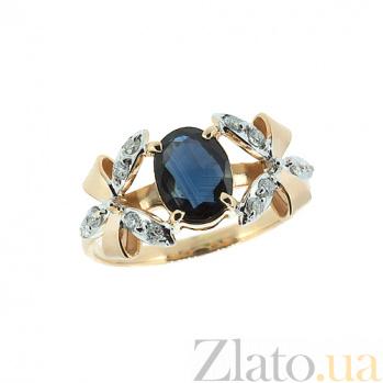 Золотое кольцо с бриллиантами и сапфиром Фрау 000027337