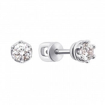 Серьги-пуссеты из белого золота с кристаллами Swarovski 000133676